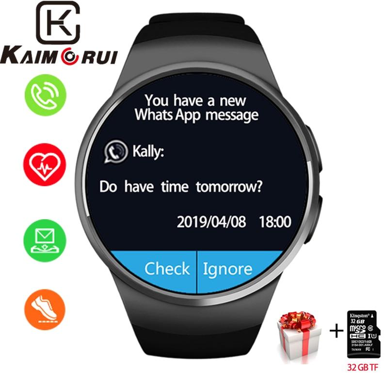 Relógio inteligente Homens KW18 Pedômetro Freqüência Cardíaca Do Bluetooth Relógios Inteligentes SIM Smartwatch Resposta Chamada TF Telefone Do Relógio para IOS Android