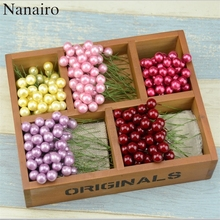 200pcs/lot Mini Fake Fruit  Berries Artificial Flowers Red Cherry Scrapbooking Stamen Head Pearl Wedding Christmas Decoration