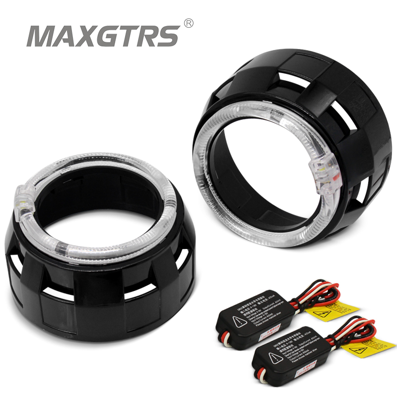 2x 3.0 Pro <font><b>LED</b></font> <font><b>Lenses</b></font> <font><b>Headlight</b></font> Car Bi-xenon Hid Projector <font><b>Lens</b></font> CCFL <font><b>LED</b></font> Angel Eyes Halo DRL Headlamp Car Retrofit Accessories image