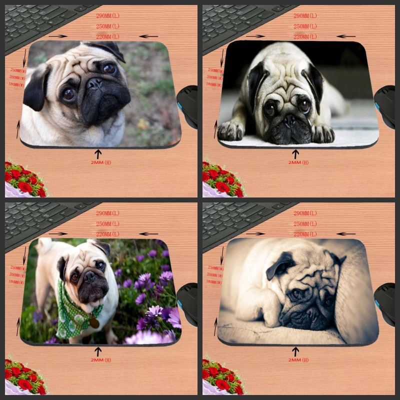 Fashion Customized Cute Pug Dog ouse Pad aming ear Anti-Slip Durable Rubber Mousepad for PC Optal Mouse 18*22/25*20/29*25*2cm