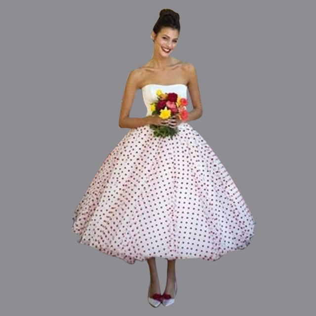 2016 Free Shipping Cheap Polka Dot White And Red Wedding Dresses Strapless Tea Length Short