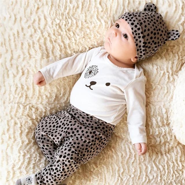 289f2decf8505 Bébé fille vêtements léopard t-shirt + pantalon + casquette nouveau-né  infantile 3