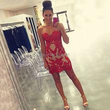 Erstaunliche Red Short Prom Dresses 2016 Liebsten Spitze Appliqued Mini Cocktailkleider Nach Maß Über Knie Abschlussfeier Kleid