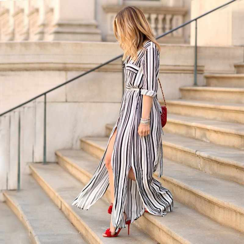 cc889c886f265 Women Sexy Long Sleeve Turn-down Dress Black White Striped Vintage Sashes  Femme Vestidos Maxi Dresses