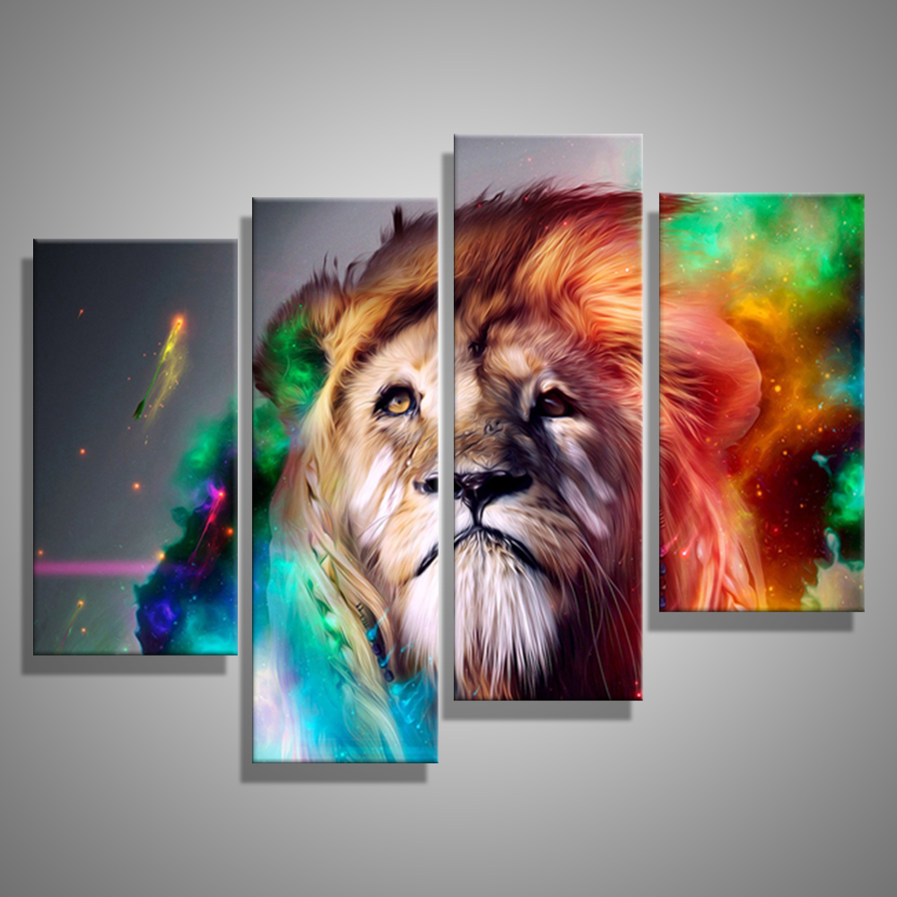 Oil Painting Canvas Abstract Animal Lion King Wall Art Home Decor Modern  Decorative Modular Wall Pictures For Living Room (4PCS) In Painting U0026  Calligraphy ...