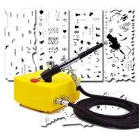 0.2 мм 2CC ногтей Аэрограф мини компрессор комплект системы и Аэрограф ногтей трафарет набор 100-240 В
