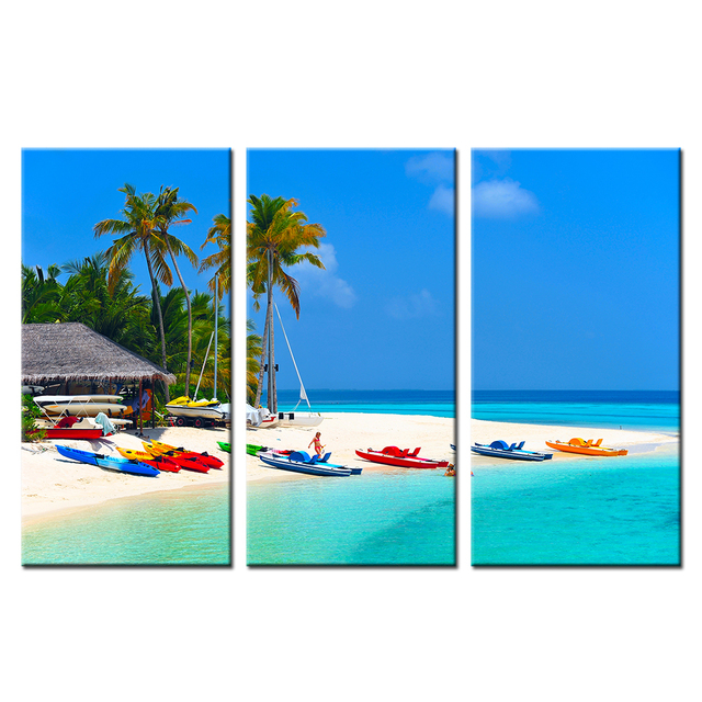 caribbean seascape paintings 3 panel modern abstract painting summer beach seascape picture