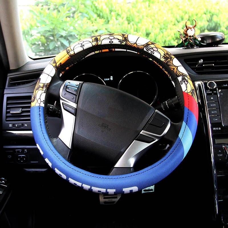 Volante do carro dos desenhos animados cobre quatro temporadas absorver o suor interior auto acessórios Garfield gato de direção tampa da roda de direção-