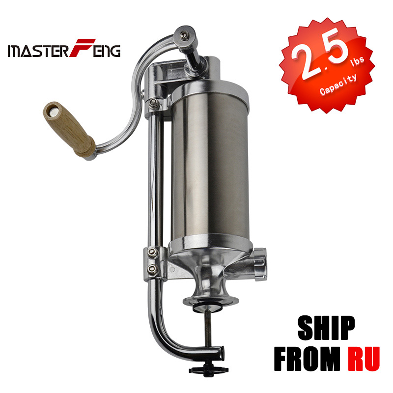 2 5LBS Stainless Steel Sausage stuffers Meat Filling Machine for home use Meat filler Kitchen poultry