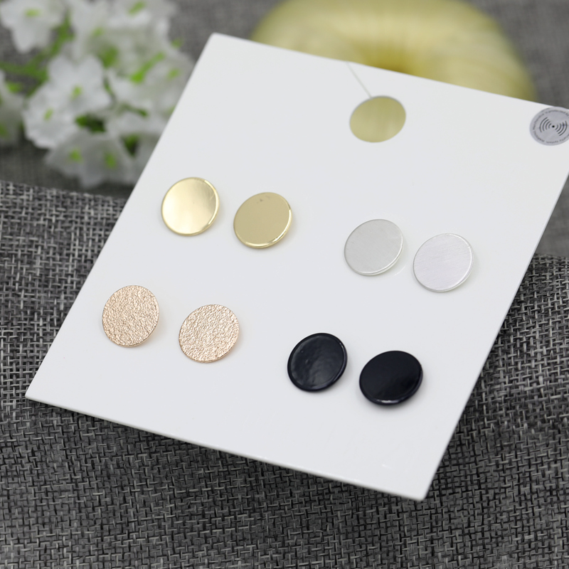 Fashion 4Pairs/Set Round Stud Earrings Set Accessories for Women Silver,Black.Rose Gold.Gold Color Mix Circle Studs Earring Sets