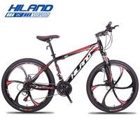 HILAND 26 горный велосипед 21/27 скоростной стальной велосипед двойной дисковый тормоз MTB подвеска вилка велосипед с Shimano TZ50