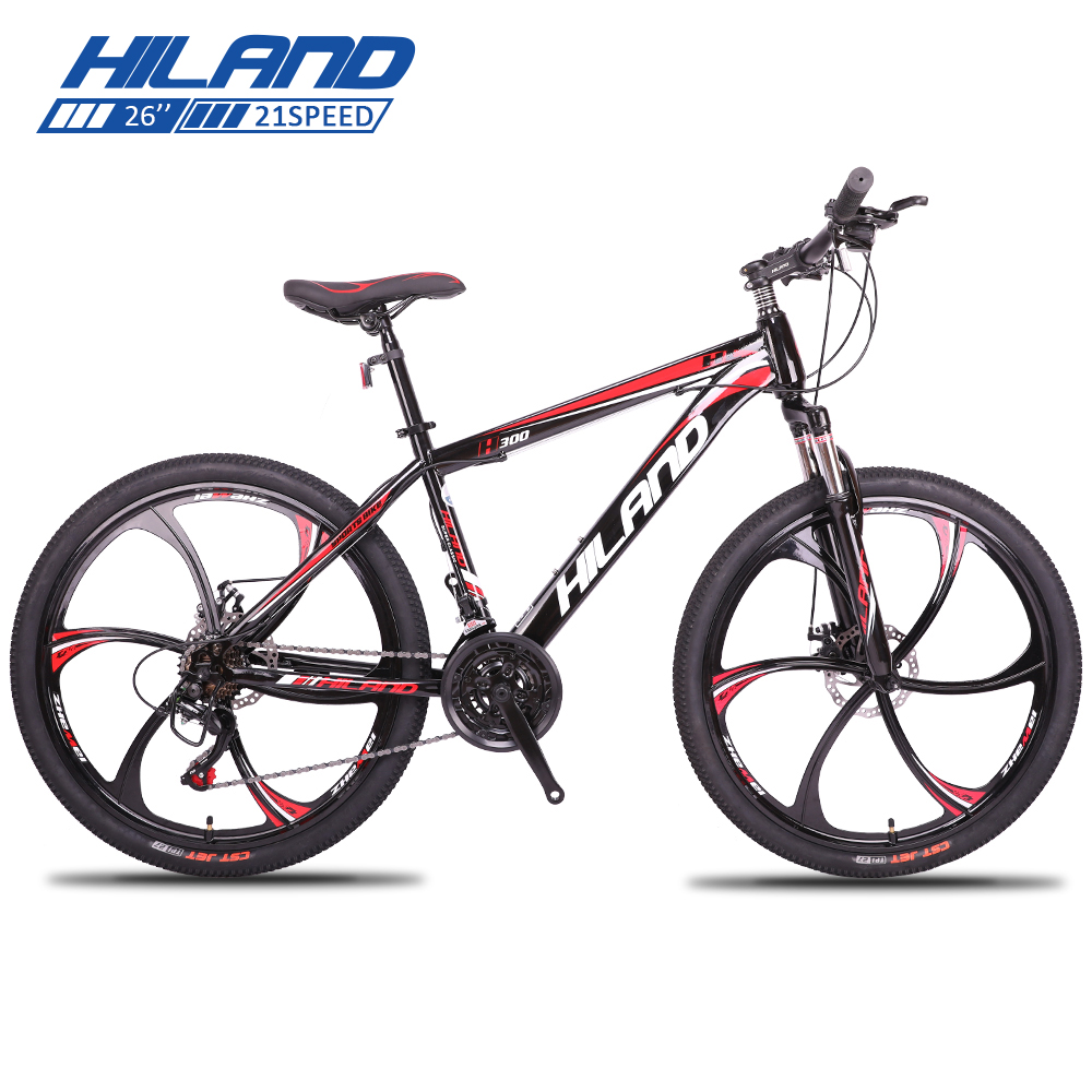 HILAND 26 Mountain Bike 21 27 Speed Steel Bicycle Bike Double Disc Brake MTB Suspension Fork