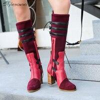 Stylesowner 2018 осень зима колено высокие замшевые носок сапоги тянущиеся лоскутное Slin сапоги натуральная кожа высокий толстый каблук
