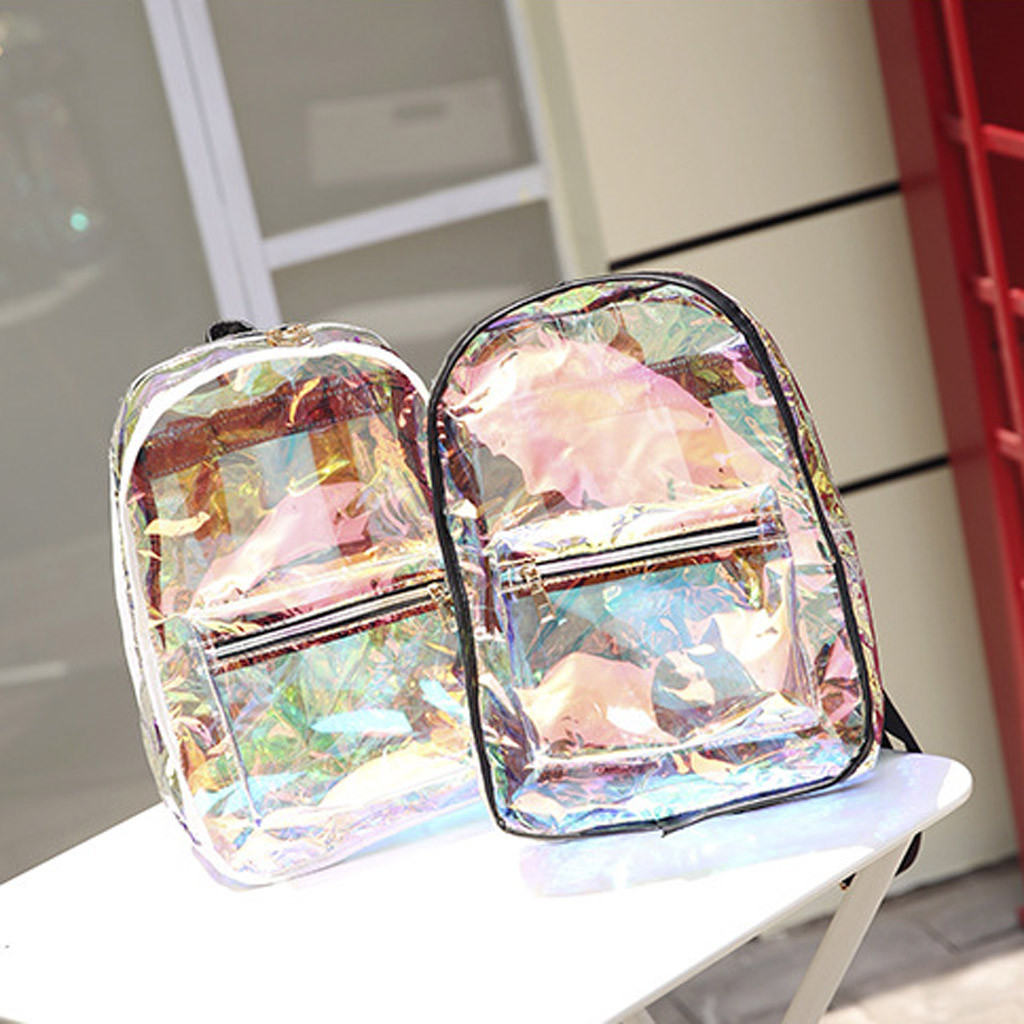 Fashion New Woman Backpack Transparent Jelly Bag Large Capacity Travel Student Bag Outdoor Bag For 2019