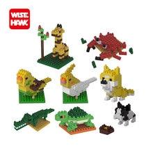 WiseHawk Animal Series Micro Bricks DIY Toys Set Giraffe Turtle Dog Mini Building Blocks Action Figures 3D Diamond Model