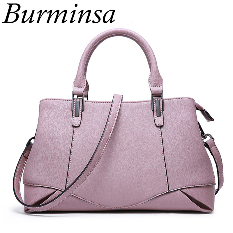 Burminsa Brand Elegant Genuine Leather Bags Causal Real Leather Handbags Ladies Tote Bags Designer Shoulder Bags For Women 2017 classic black leather tote handbags embossed pu leather women bags shoulder handbags elegant