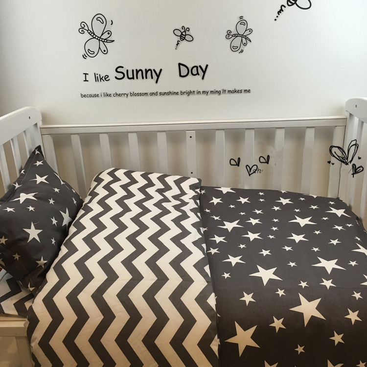 все цены на Free shipping New Arrived Hot Ins crib bed linen 3pcs baby Bedding set include pillow case+bed sheet+duvet cover without filling онлайн