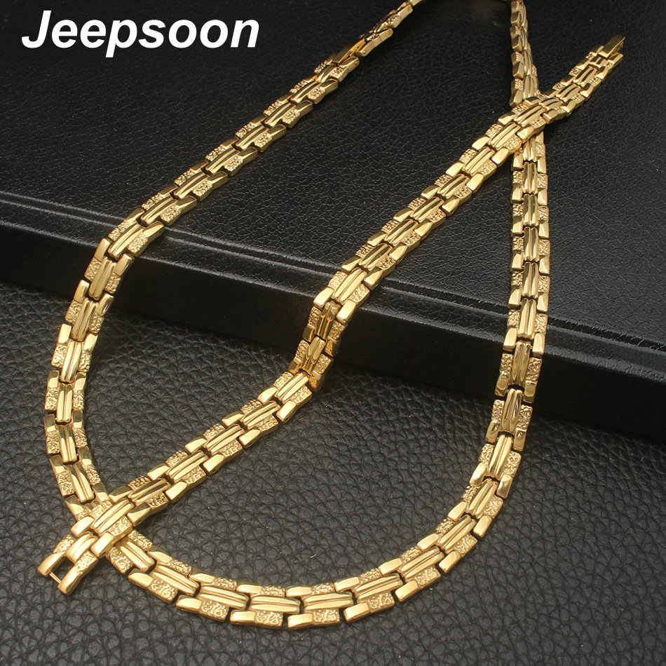Wholesale Newest Fashion Stainless Steel Metal Silver Gold color  Necklace And Bracelet Jewelry Set For Women SFKZAQEI