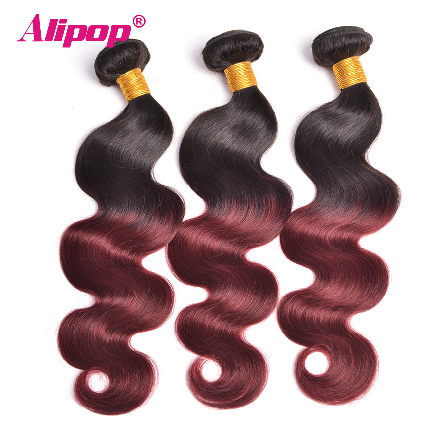 Ombre Hair Bundles Brazilian Body Wave 1B/99J Burgundy Two Tone Human Hair Bundles 3/4 Pcs Non Remy Hair Extensions ALIPOP