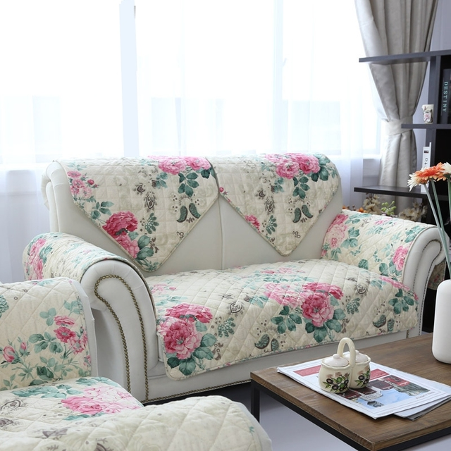 2016 New Arrival 100% Cotton Printed Pastoral Floral Combination Kit Sectional  Sofa Cover Sectional Couch