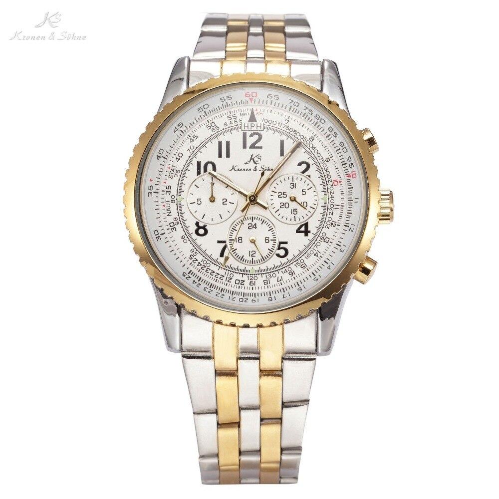 купить Ks Aviator Relogio Masculino Luxury Calendar Automatic Mechanical Mens Full Steel Band Clasp Watch Business Wrist Watches /KS160 недорого