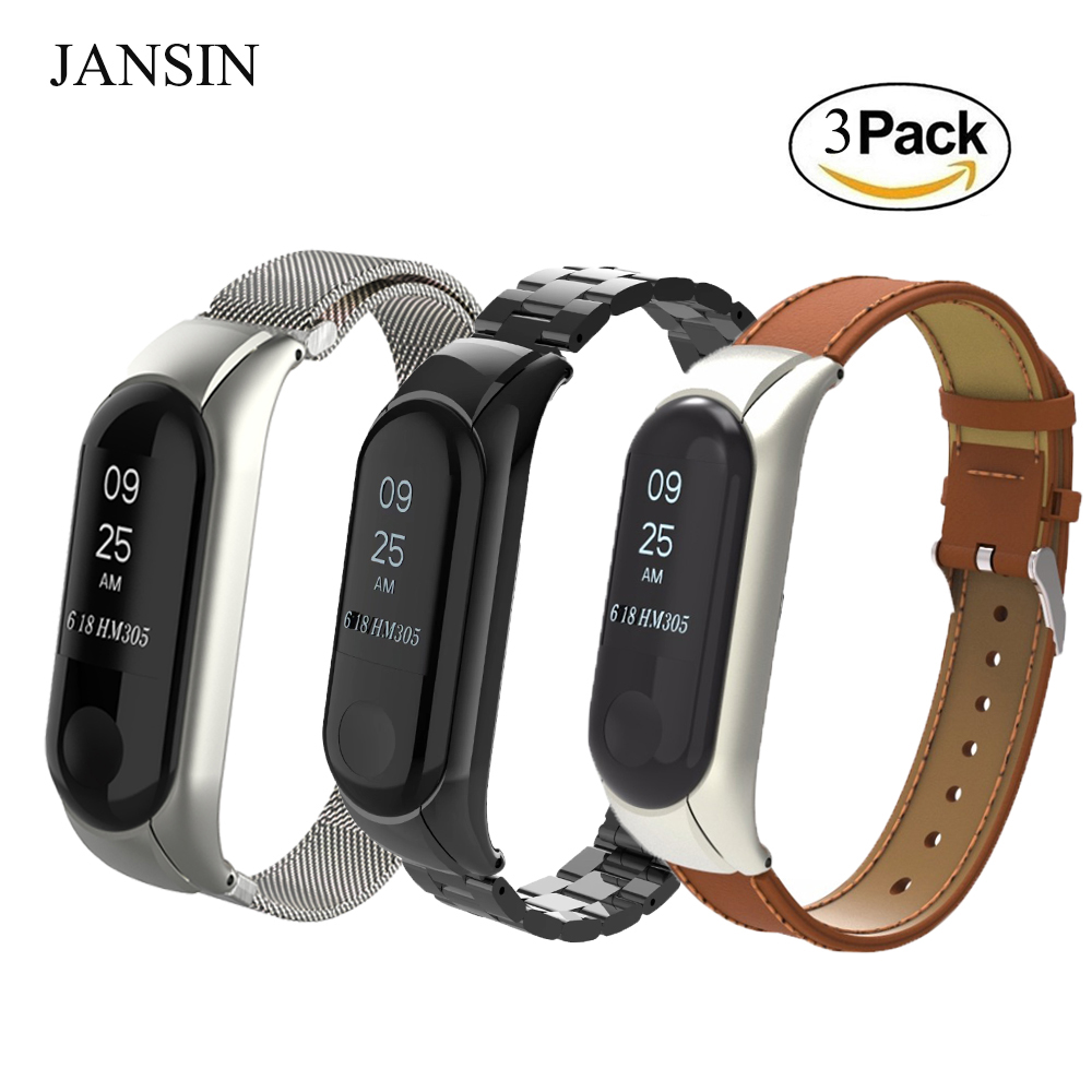 xiaomi mi band 3 Watch Band, Milanese Loop Stainless Steel Strap Genuine Leather strap Bands for xiaomi mi band 3 Bracelet for xiaomi mi band 3 bracelet strap for mi band 3 wrist band miband 3 smart watch strap belt stainless milanese loop wrist bands