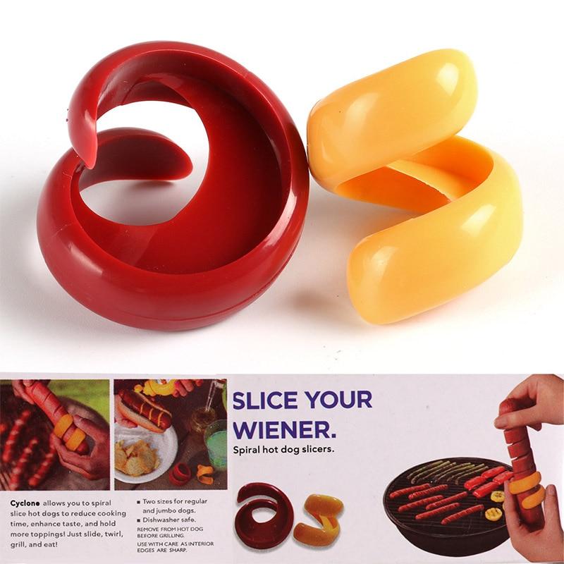 2 pcs/set Sausage Cutter Set Food -Grade Plastic Manual Fancy Sausage Cutter Spiral Barbecue Hot Dogs Slicer