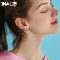 INALIS New 925 Sterling Silver Luxurious Elegant Drop Earrings Double Round Circle with Tiny CZ Crystal Brincos Women Jewelry