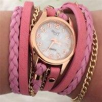 Hot Sale New Fashion Retro Leather Quartz Watch Women Dress Weave Bracelet Watches Cheap Wholesale Relogio