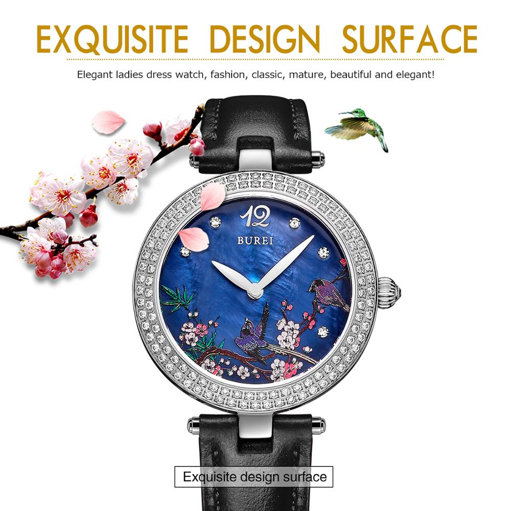 BUREI 13007 Szwajcaria oglądać kobiety luksusowej marki Chiński - Zegarki damskie - Zdjęcie 4
