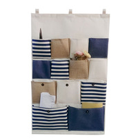13 Pocket Vintage Stripe Linen Closet Hanging Storage Bag Organizer Door Rack Wall Holder Decoration Cosmetic