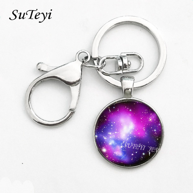 Nebula space pendant Key Ring astronomy geek Keychain sci-fi science galaxy space Key Chain glass dome pendant Jewellery Gift 1