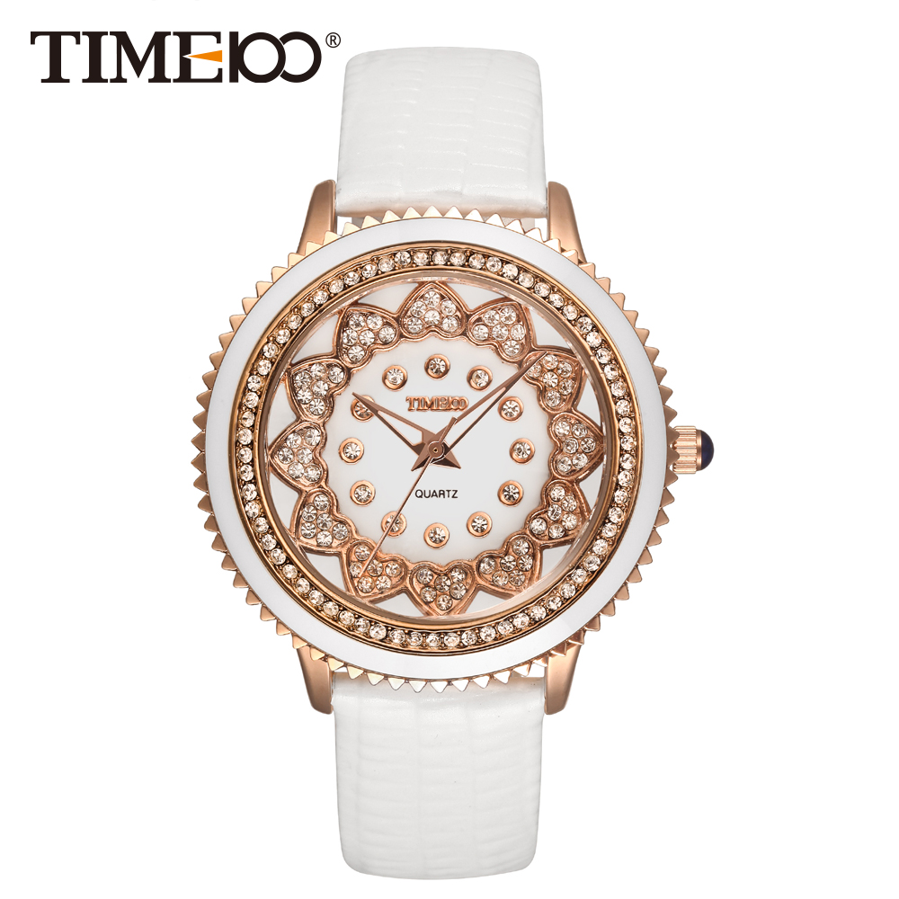 TIME100 Ladies Watches White Leather Strap Gear Wheel Dial Quartz Watches Women Wrist Watch Clock relogio feminino W50278L.02A time100 vintage women s bracelet watch diamond shell dial copper plated strap ladies quartz watches for women relogio feminino