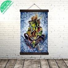 Лучший!  Традиция лорд ганеша современный Wall Art принт поп-арт печать картины и плаката висит свиток