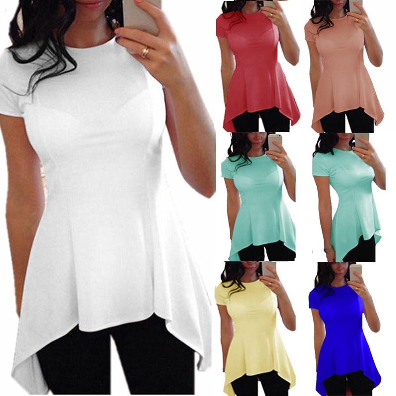S-4XL Plus Size 2019 Tops Blouse Zomer Herfst Vrouwen Blusas Lange Korte Mouwen O-hals Onregelmatige Zoom Peplum Taille Slanke Shirt Tops