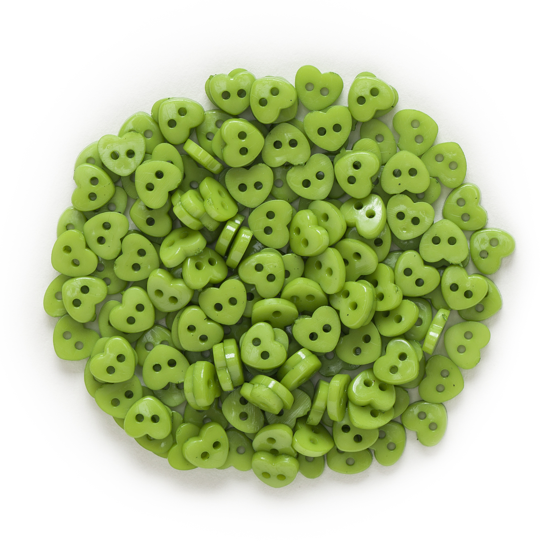 6 мм 100 шт многоцветные одноцветные дополнительные 2 отверстия мини сердце смолы кнопки для шитья скрапбукинга декоративные открытки для рукоделия - Цвет: Green