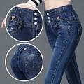 2017 New Denim High Waist Jeans Full Length Pencil Pants Jeans Woman Denim Trousers 26-32