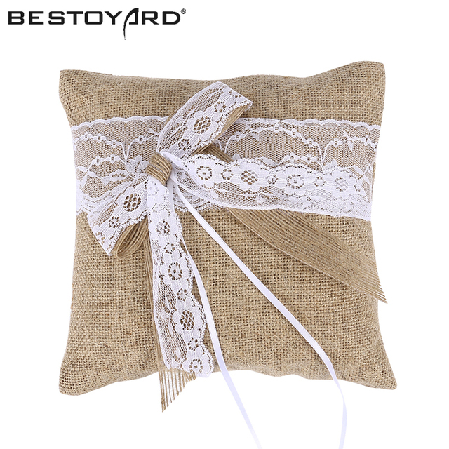 20 X 20cm Burlap Hessian Rustic Wedding Ring Pillow Cushion Bearer Lace Flower For