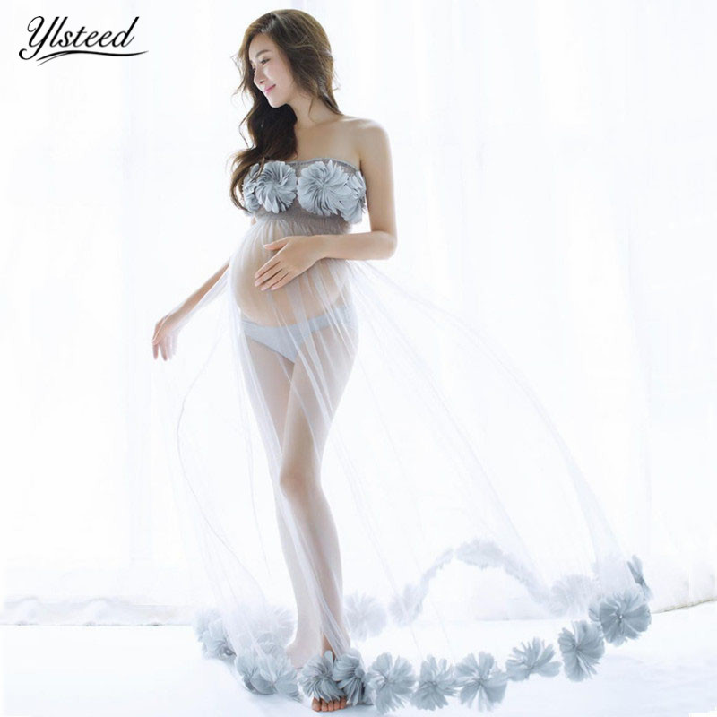 цены Maternity Photography Props Sexy Mesh Maternity Photography Dress Transparent Floral Pregnancy Dress Pregnant Photo Shoot Cloth