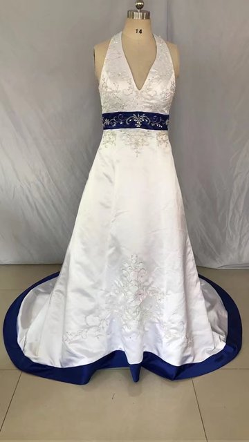 eea57da91482 Halter A Line gown wedding Floor length chapel train dress Embroidery  Beaded Satin Royal Blue and white wedding dresses