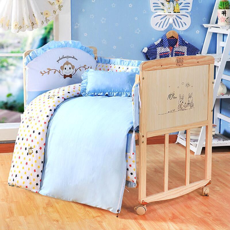 №Ambiental de madera de pino cama de bebé recién nacido playpen cama ...