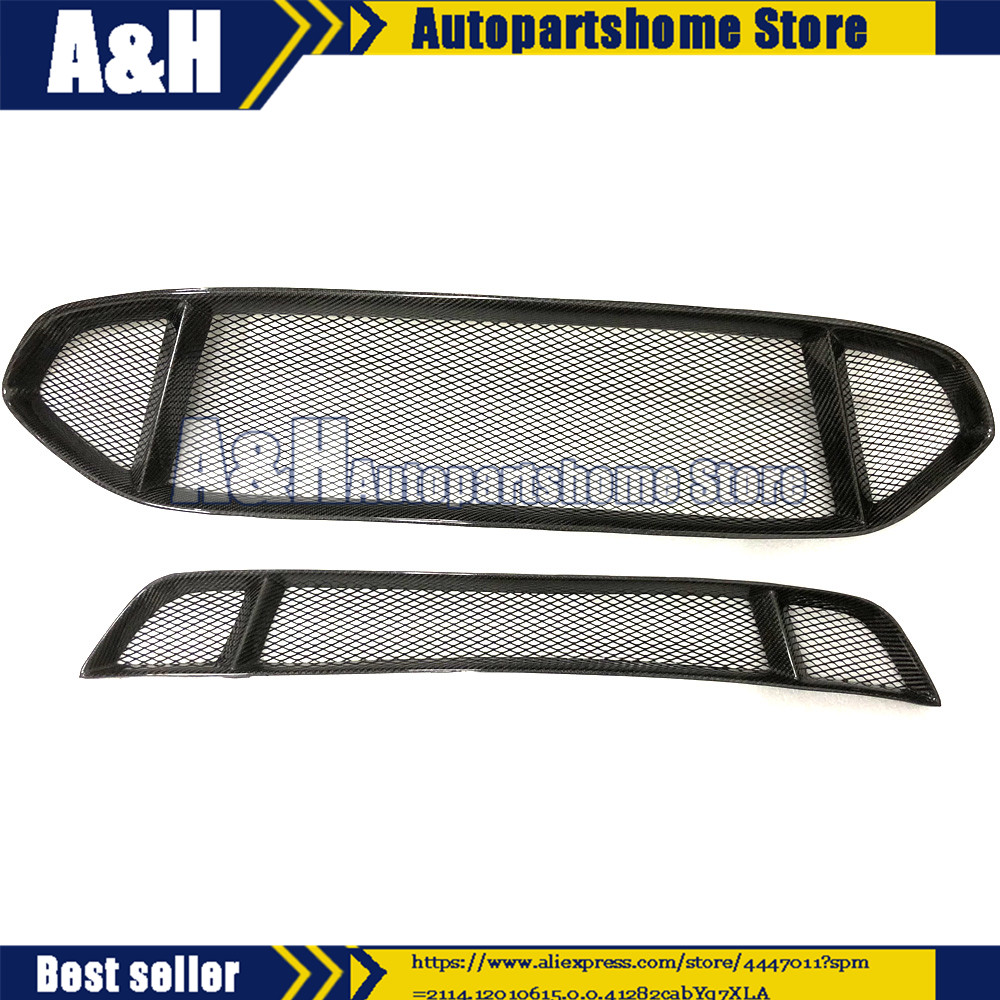 2pcs For Ford Mondeo/Fusion 2013 2016 Front Bumper Upper&Lower Carbon Fiber Grille