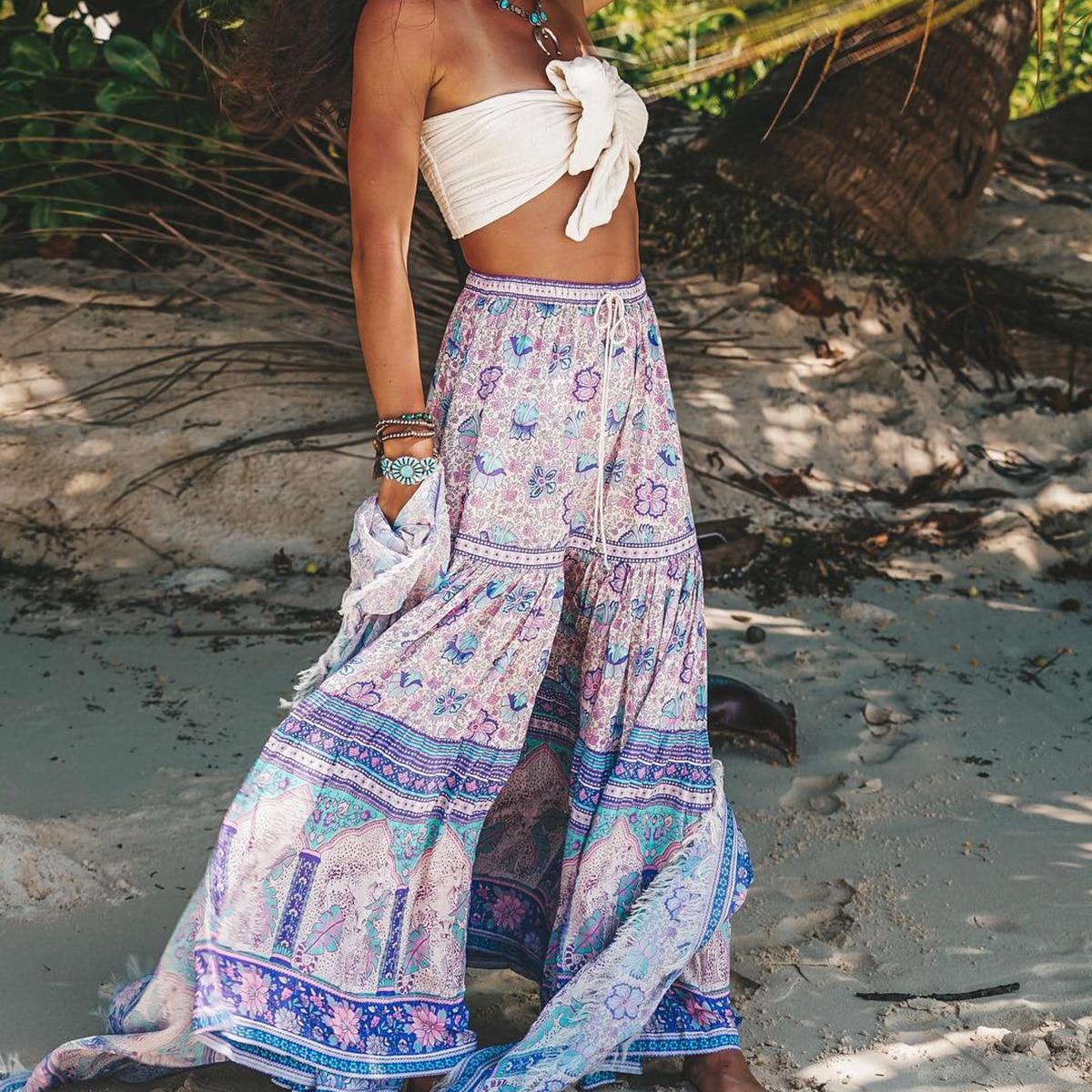 Jastie 2019 Summer Skirt Boho Floral Print Skirts Casual Elastic Waist Tie Chic Beach Skirt Loose Long Maxi Skirts Faldas Mujer