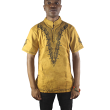 Africa Gold Many Embroidery Men`s Ethnic Tops Side Slit Dashiki Shirts for Summer
