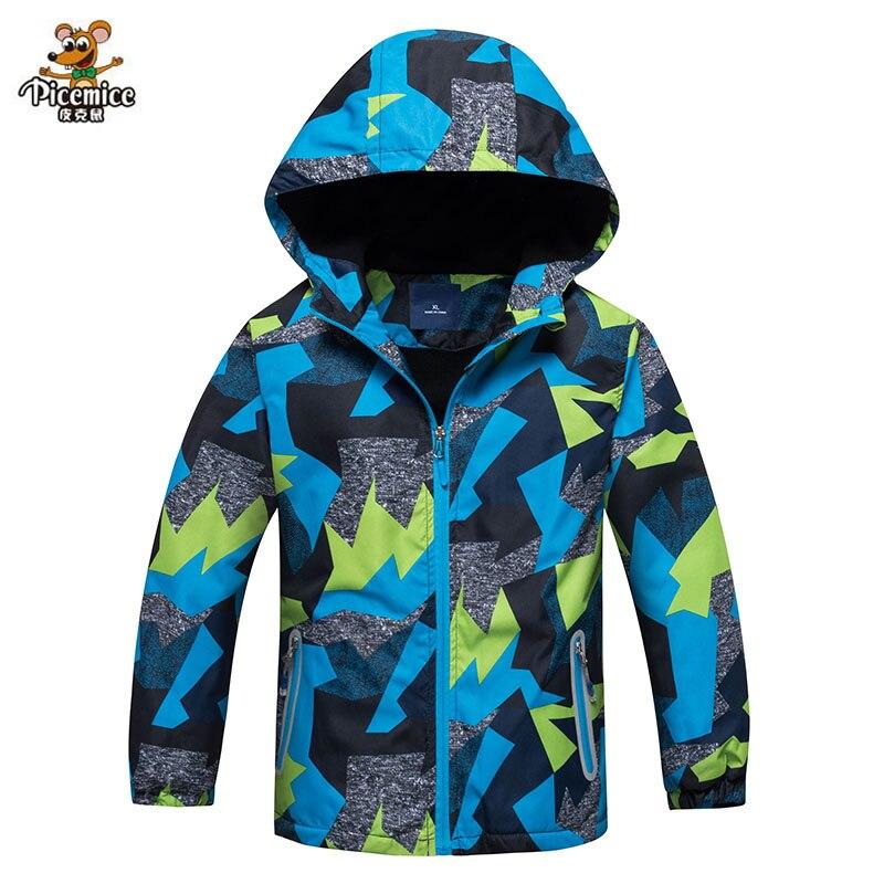 Boys Windbreaker Jackets Polar Fleece Coats Kids Outerwear Sport Hoodie Double-Deck Waterproof Jacket