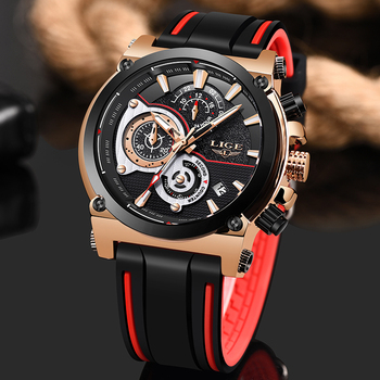 Men Watches LIGE Top Luxury Brand Business Silicone Strap Waterproof Quartz WristWatch Fashion Military Date Chronograph+Box