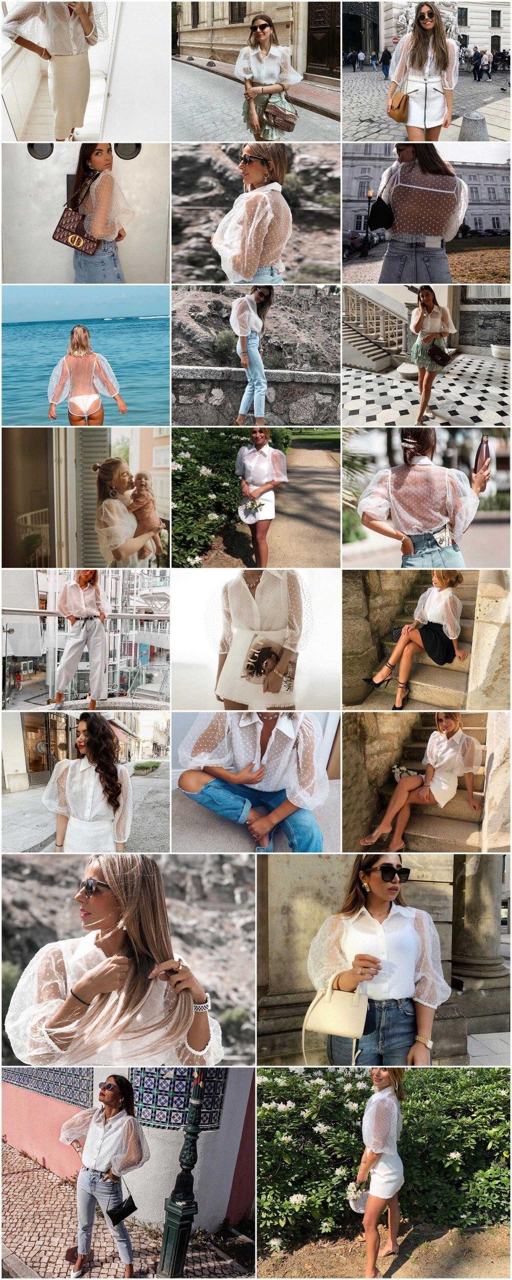 Fantoye 19 Summer Women Chiffon Blouse Shirt Sexy Transparent Mesh Beading Puff Sleeve Female office Shirts Lady Blusa Outfits 3