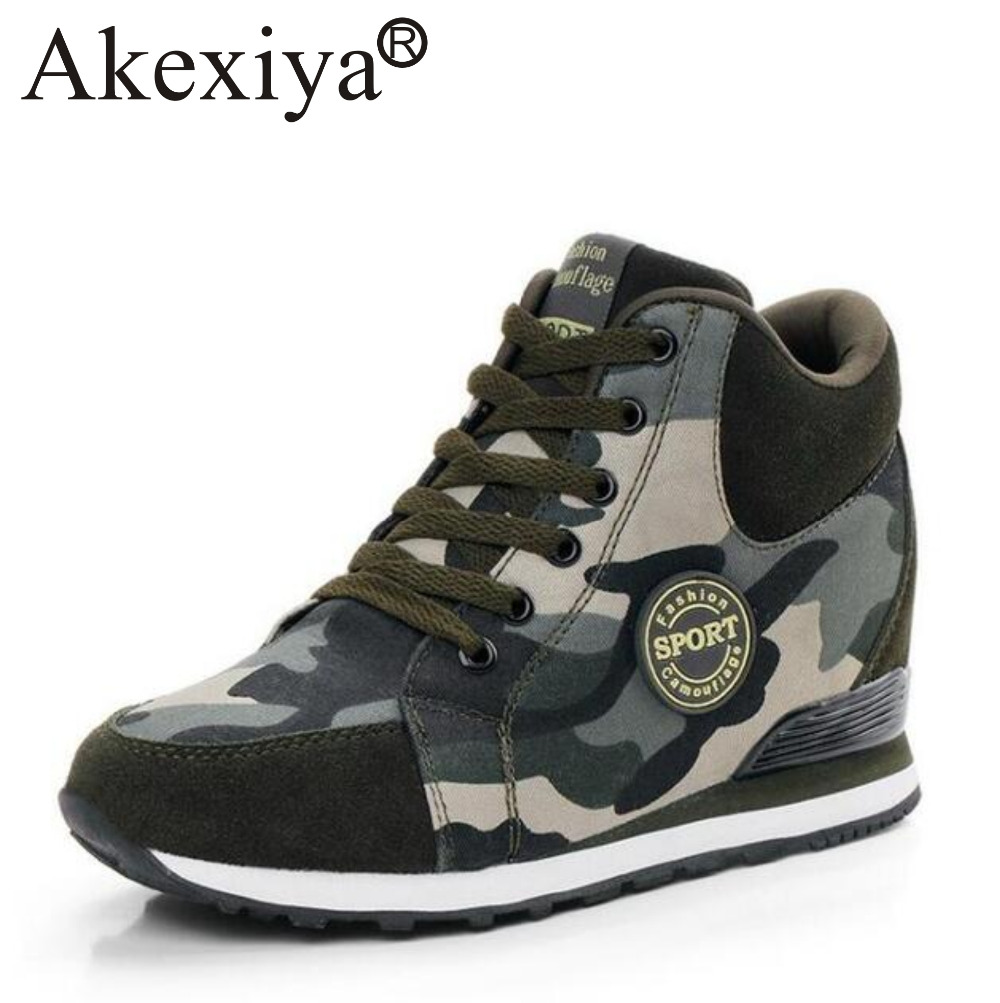 Akexiya Camouflage Army Ankle Boots High Top Running Shoes Women Platform Wege Sneakers Leather Canvas Height Increasing Winter