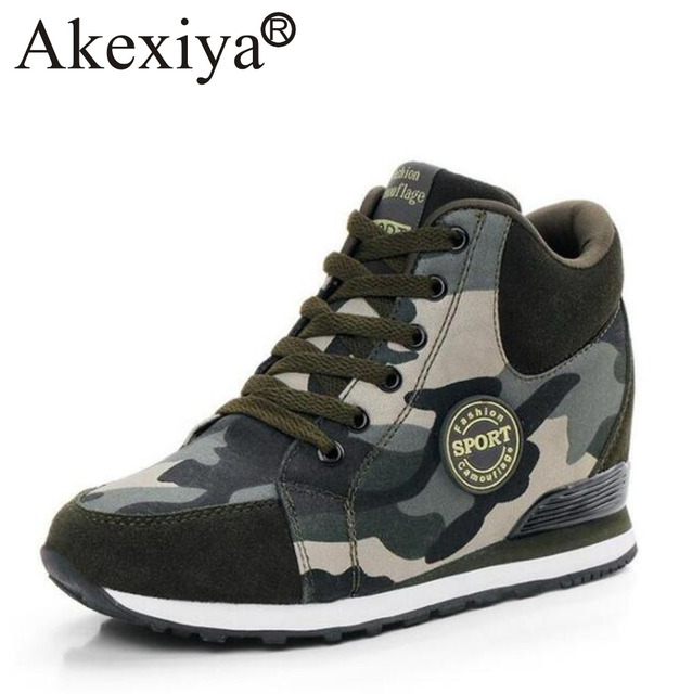 Camo Army High Top Womens Autumn Canvas Lace Up Sneakers Military Running Shoes