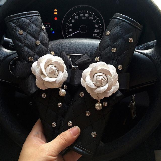 Daisy Flower Car Seat Belt Cover Handbrake Grip Shifter Cover Set Rhinestone Auto Interior Styling Accessories for Women Girl